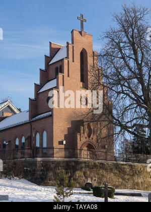 Nordstrand Church in in gothic style from 1935 in a suburb of Oslo Norway, evangelical Lutheran, architect Jacob Wilhelm Nordan - Stock Image