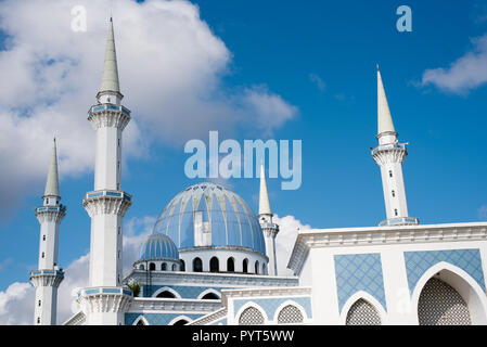 view of a beautiful Sultan Ahmad Shah public mosque with blue dome located in KuantanPahang,Malaysia - Stock Image