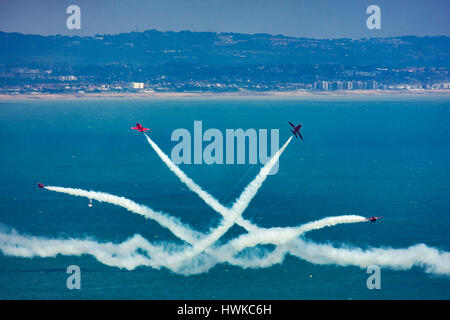 Royal Air Force Red Arrows performing display at Eastbourne Air Show 2015, East Sussex , UK - Stock Image