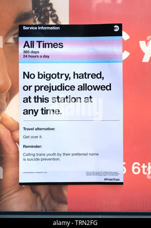 HOAX. An anti bigotry, anti bullying flyer posted on what appears to be MTA stationary but was not issued by the MTA. In Chelsea section of Manhattan. - Stock Image