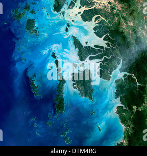 Mergui Archipelago Myanmar or Burma in the Andaman Sea is made up of more than 800 islands surrounded by extensive coral reefs. - Stock Image