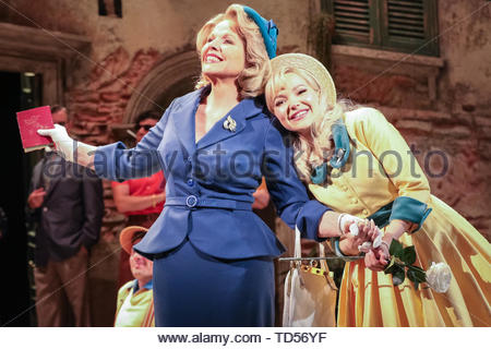 Royal Festival Hall, London, UK, 12th June 2019.  Renée Fleming as Margaret Johnson (l) and Dove Cameron as Clara Johnson (r) in the Florence Piazza where much of the musical is set. Tony Award Winning romantic musical 'The Light in the Piazza' will be making its London premiere at the Royal Festival Hall on Wednesday 12th June and will run 14th June to 5th July. It stars soprano superstar Renée Fleming and Dove Cameron, star of Disney's 'The Descendants', as well as Alex Jennings, Rob Houchen, Celinde Schoenmaker and many others. Credit: Imageplotter/Alamy Live News - Stock Image