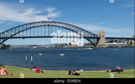 Sydney Harbour Bridge and Quiberie Park North Sydney Australia - Stock Image