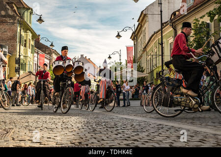 Sibiu City, Romania - 14 June 2019. Crescendo Opende Bicycle Band from Netherlands performing at the Sibiu International Theatre Festival from Sibiu,  - Stock Image