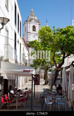 Portugal, Algarve, Lagos, Igreja de Santo Antonio & Street Scene - Stock Image