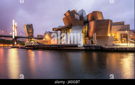 Guggenheim Museum Bilbao , museum of modern and contemporary art , architect Frank Gehry , Bilbao, Basque Country, - Stock Image