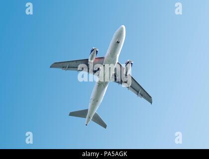 Airplane, Low Angle, UK - Stock Image