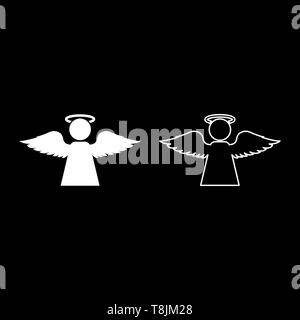 Angel with fly wing icon outline set white color vector illustration flat style simple image - Stock Image