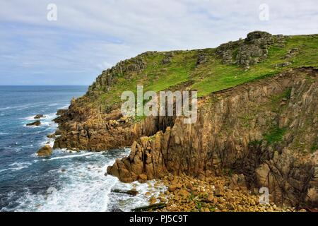 Mayon cliff cliffs,Lands End,Cornwall,England,UK - Stock Image