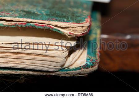 Well-worn address book detail - Stock Image