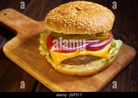 Hamburger in rustic style - Stock Image
