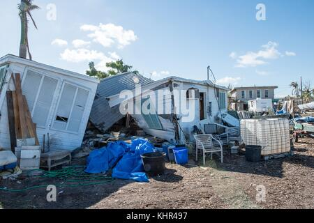 Damaged homes in the aftermath of Hurricane Irma November 10, 2017 in Big Pine Key, Florida.   (photo by Howard - Stock Image