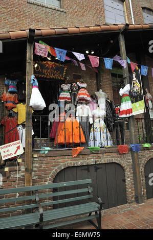 Mexican style clothing for sale, Calle Olvera, or Olvera Street. El Pueblo de Los Angeles Historic Monument, Los - Stock Image