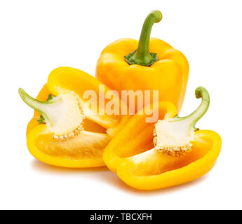 sliced yellow bell pepper path isolated on white - Stock Image