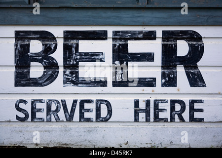 Hand painted sign that reads Beer Served Here, China Camp State Park, San Rafael, California - Stock Image