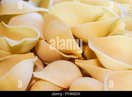 Close up of raw pasta. detail of pasta - Stock Image