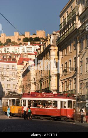 Portugal Lisbon Portugal Lisbon Tram Electrico Strassenbahn Baixa castelo - Stock Image