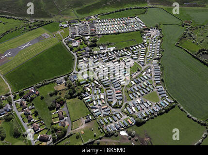 aerial view of Bank Lane Caravan Park & Sea View Caravan Park, Warton, near Preston, Lancashire - Stock Image