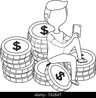 Man design, Money financial item commerce market payment  invest and buy theme Vector illustration - Stock Image