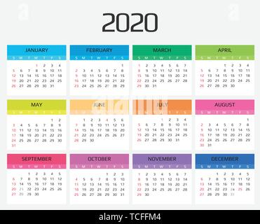 Calendar 2020 template. 12 Months. include holiday event. Week Starts Sunday - Stock Image
