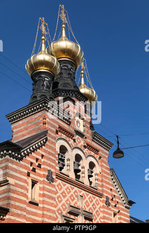Alexander Nevsky Church in Copenhagen, Denmark. The only Russian Orthodox church in Copenhagen, it was built by the Russian Government between 1881 an - Stock Image