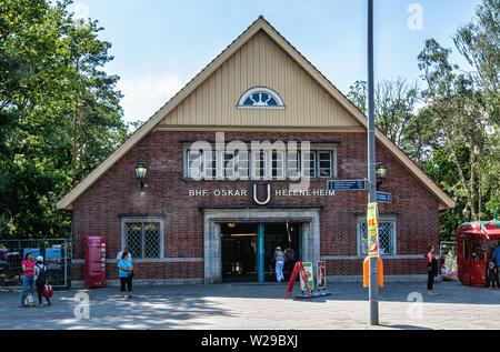 Berlin-Dahlem. Oskar-Helene-Heim U-Bahn underground railway station on the U 3 line. Historic old building exterior & façade. - Stock Image