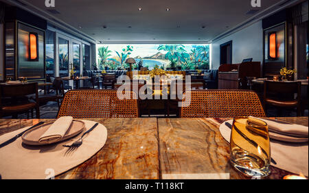 Pergula Restaurant, located within the Copacabana Palace Belmond Hotel, is a sophisticated eatery in the Copacabana Palace, Rio de Janeiro, Brazil - Stock Image