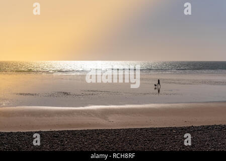 Woman running with her dog on a beach at sunset - Stock Image