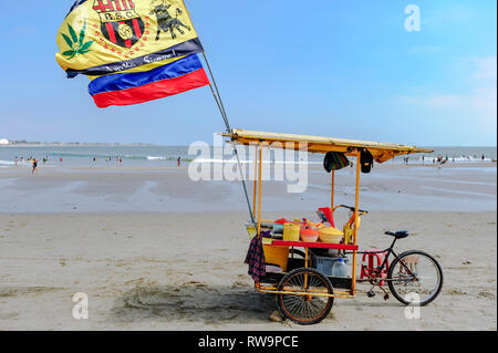 Bicycle cart vendor selling ceviche seafood on the beach at Los Playas near Guayaquil Ecuador. Flags of a soccer club and Ecuador waving in the wind - Stock Image