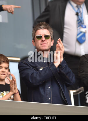 Noel Gallagher celebrates City's second goal during the Premier League match between Brighton & Hove Albion and Manchester City  at the American Express Community Stadium 12 May 2019 Editorial use only. No merchandising. For Football images FA and Premier League restrictions apply inc. no internet/mobile usage without FAPL license - for details contact Football Dataco - Stock Image