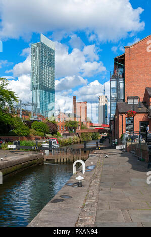 The Beetham and Axis Towers from the Rochdale Canal at Lock 92, Manchester, England, UK - Stock Image