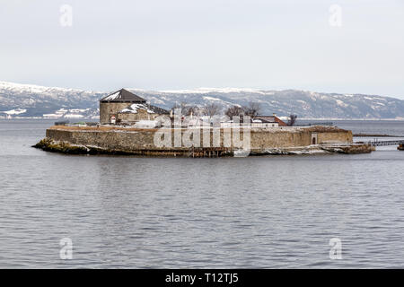 Munkholmen, or Monk's islet, a small island near Trondheim in Norway. It has been used as a place of execution, a monastery, a fortress, prison. - Stock Image