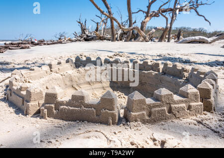 Sandcastle at Driftwood Beach on Jekyll Island along the Atlantic Coast in South Georgia. (USA) - Stock Image