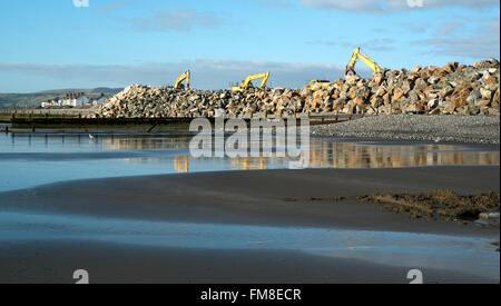 Flood defences at Borth, Aberystwyth, site of TV drama Hinterland - Stock Image