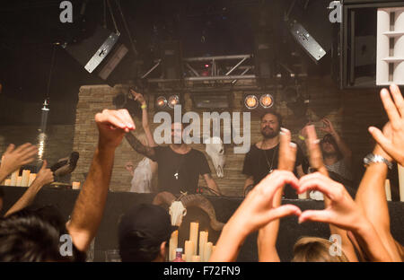 Tale of Us DJ's playing at DC-10 club in Ibiza - Stock Image