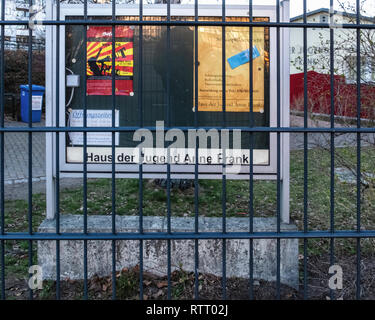 Berlin Wilmersdorf. Anne Frank Youth Centre Notice Board.Leisure Centre, meeting place & place of political education & debate - Stock Image