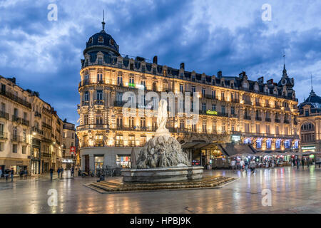 Place de la Comedie, Three graces fountain, Montpellier, France, - Stock Image