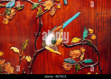 Bird detail from a Japanese Lacquer furniture, The Metropolitan Museum of Art, Manhattan, New York USA - Stock Image