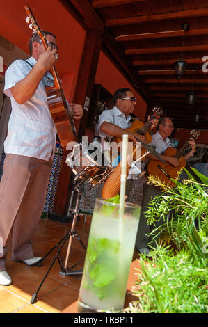 Three male guitarists play during the day in a bar in the Old Town, Havana, Cuba, Caribbean - Stock Image