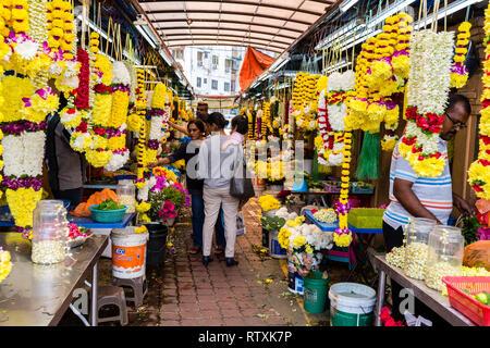 Flower Vendor Lane, Little India, Brickfields, Kuala Lumpur, Malaysia. - Stock Image