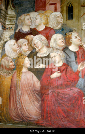 detail of the spectacular 14th century murals in the Chapel of Saint Nicholas in Tolentino, le Marche Italy. - Stock Image