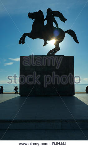 Alexander the Great statue, by the waterfront in the city of Thessaloniki, Central Macedonia, Greece. - Stock Image
