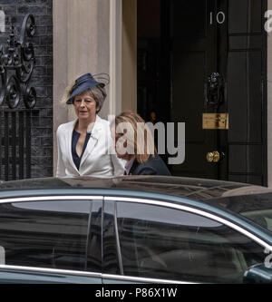 London 10th July 2018, ,The Prime Minister, Theresa May,leaves  10 Downing Street, London for the RAF 100 service at Westminster Abbey Credit Ian Davidson/Alamy Live News - Stock Image