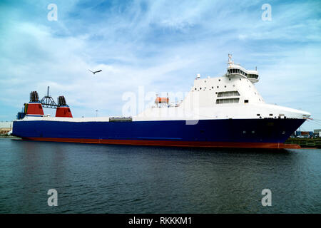 Stena Freighter, purchased by Jeff Bezos of Amazon, docked at the Port of Pensacola to be retro fitted as a rocket landing ship for Blue Horizon. - Stock Image