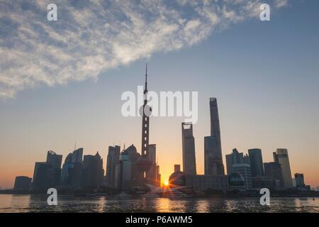 China,Shanghai,Pudong Skyline and Huangpu River at Sunrise - Stock Image