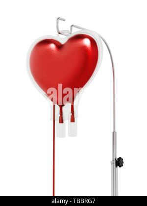 Blood inside heart shaped bag. 3D illustration. - Stock Image
