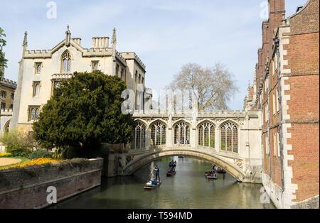 Bridge of Sighs St Johns College Cambridge from the Kitchen Bridge 2019.ARW - Stock Image