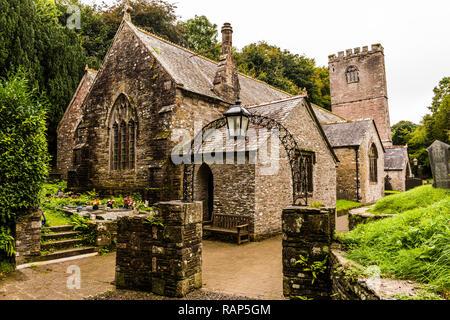 Medieval church at St Breock, near Wadebridge, Cornwall, UK - Stock Image