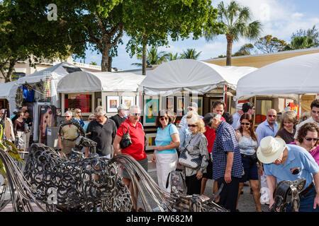 Fort Lauderdale Ft. Florida Las Olas Boulevard Las Olas Art Fair festival street fair community event art tent sculpture metal w - Stock Image