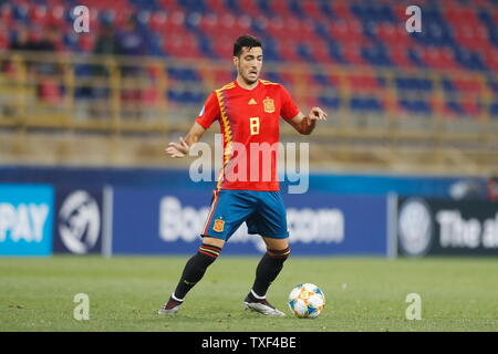 the Stadio Renato Dall'Ara, Bologna, Italy. 22nd June, 2019. Mikel Merino (ESP), JUNE 22, 2019 - Football/Soccer : UEFA European Under-21 Championship 2019 Group stage match between Under-21 Spain 5-0 Under-21 Poland at the Stadio Renato Dall'Ara, Bologna, Italy. Credit: Mutsu Kawamori/AFLO/Alamy Live News - Stock Image